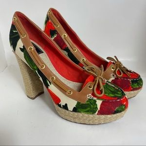 Milly for Sperry Top Sider Floral Canvas Heels